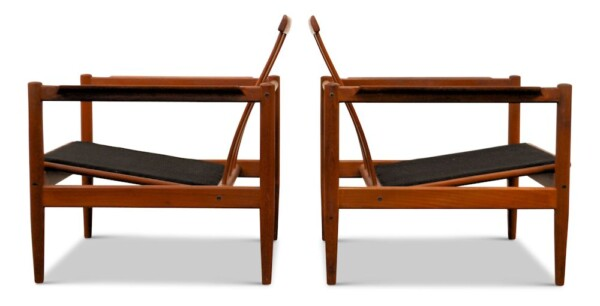 Vintage Danish Modern lounge chairs by Børge Jensen & Sønner - side