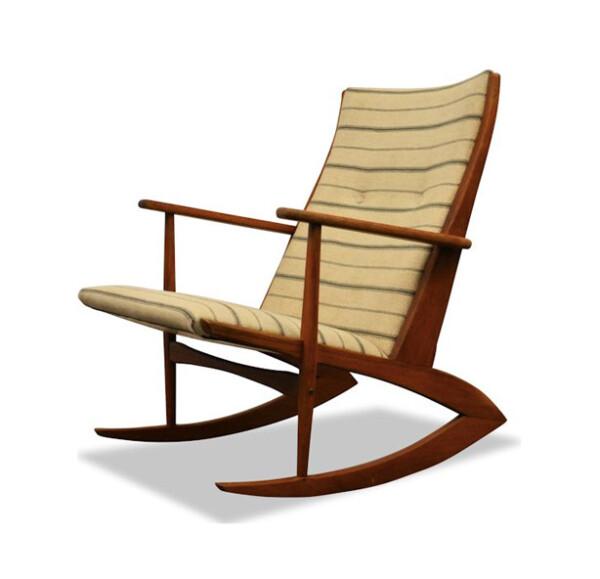 Vintage Holger Georg Jensen teak schommelstoel