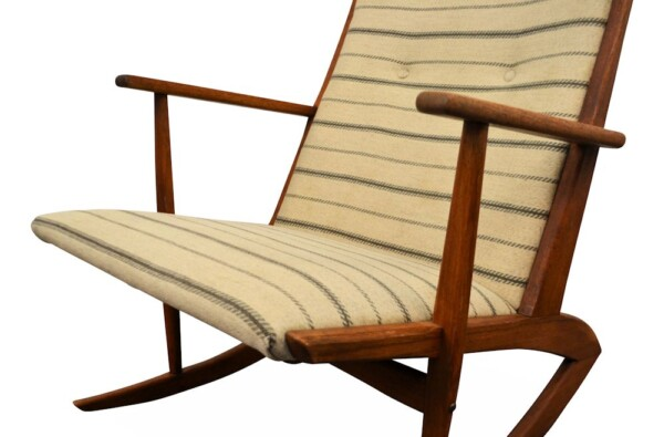 Vintage Holger Georg Jensen teak schommelstoel (detail)