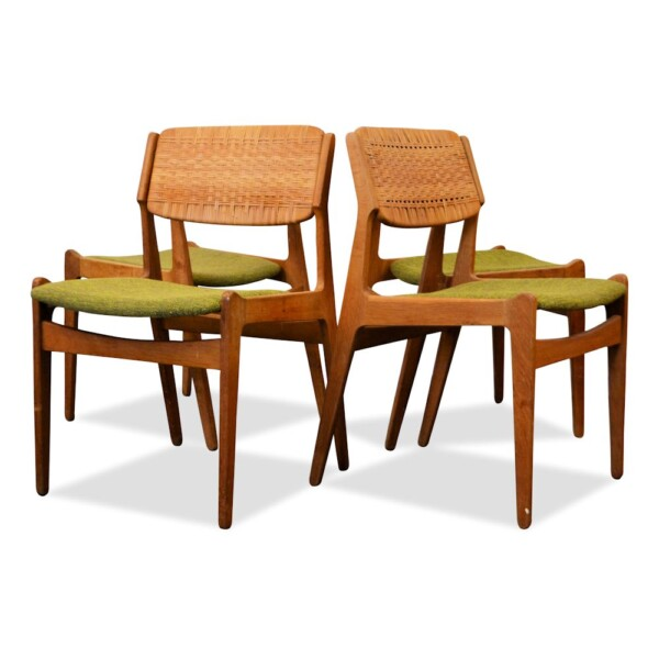Erik Buch Oak and Ratan Dining Chairs
