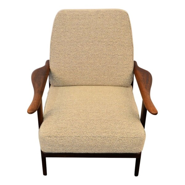 Vintage Danish Modern teak Y-shape lounge chair - front