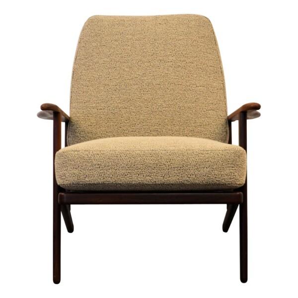 Vintage Danish Modern teak Y-shape lounge chair - detail armrest