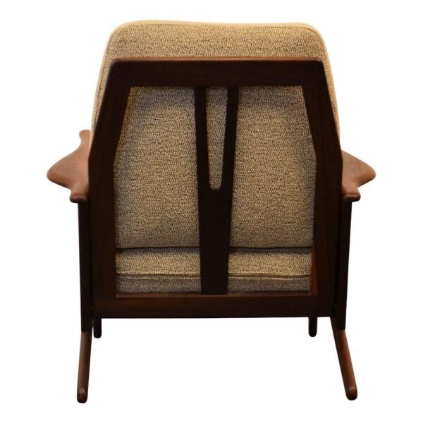 Vintage Danish Modern teak Y-shape lounge chair - back