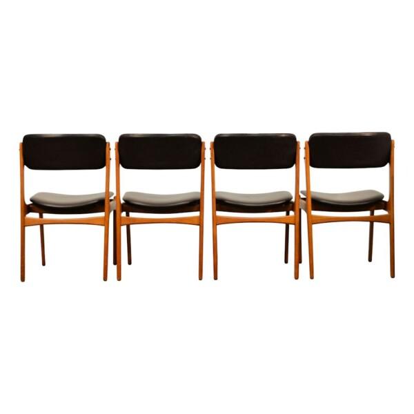 Vintage Teak Dining Chairs by Erik Buck - back