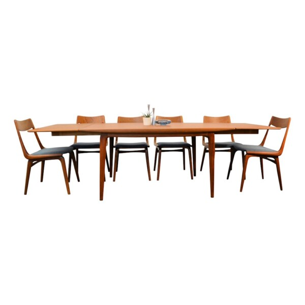 "Alfred Christensen ""Boomerang"" tafel + stoelen"
