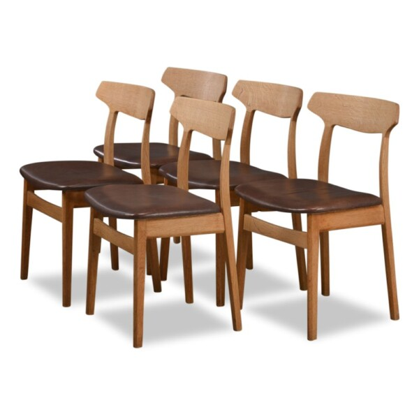 Vintage Oak Dining Chairs by Henning Kjaernulf  - side