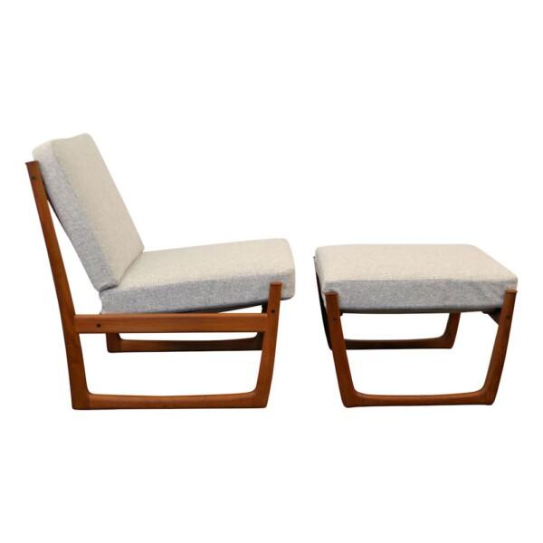 Hvidt & Mølgaard teak FD-130 fauteuil + hocker