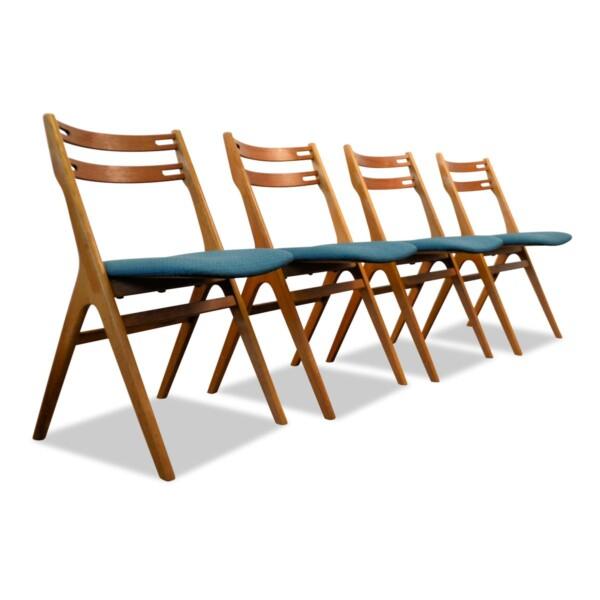 Vintage Teak/Oak Dining Chairs by Edmund Jørgensen