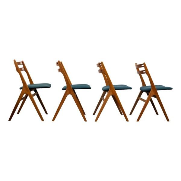 Vintage Teak/Oak Dining Chairs by Edmund Jørgensen - side
