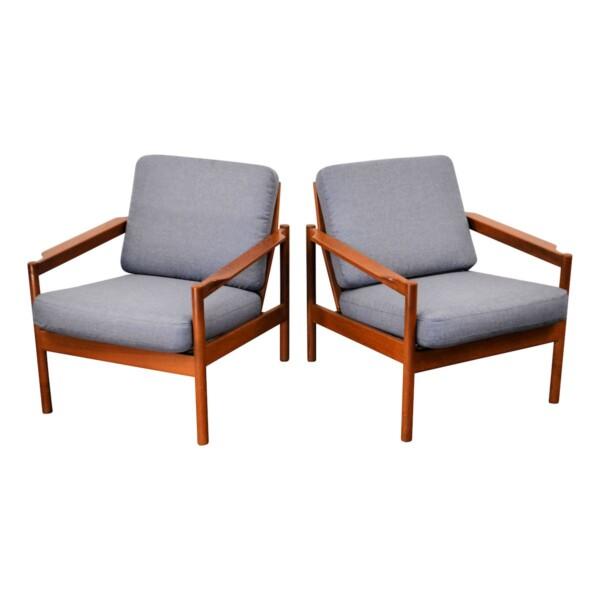 Vintage Kai Kristiansen teak fauteuils, set van 2