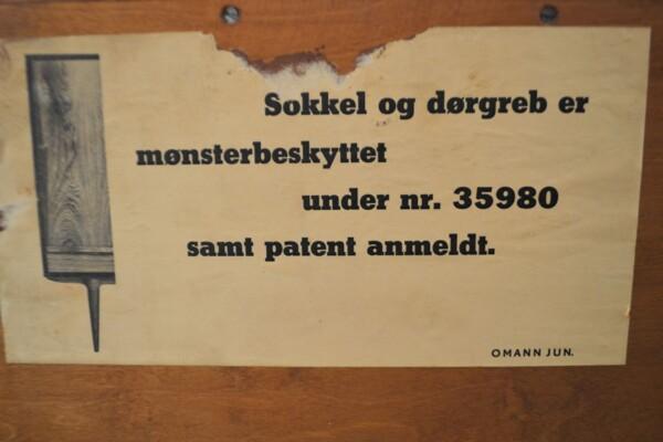 Vintage Teak Sideboard by Gunni Omann - patent sticker
