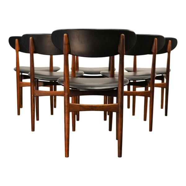 Vintage Deens design palisander eetkamerstoelen