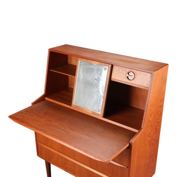 Vintage Danish Teak Secretaire Desk - mirror revealed