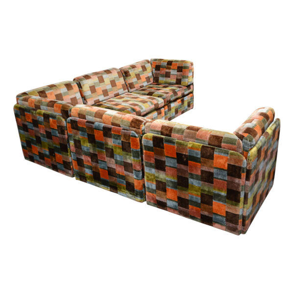 Vintage Swedish Modular Patchwork Sofa - back