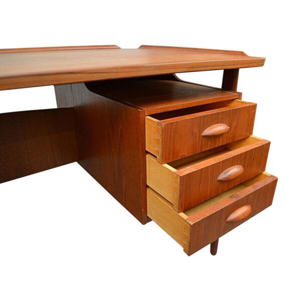 Vintage Danish Teak Desk by Svend Aage Madsen - drawers